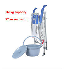 Aluminum folding blue commode  chair toilet bathroom shower mobile bucket