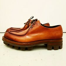 NEW Authentic PRADA MENS RUNWAY CALFSKIN DERBY LACE UP Leather Derby Shoes Sz 10