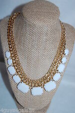 """Necklace COSTUME JEWELRY 18"""" Gold Tone Chain WHITE Rectangle Beads Chunky"""