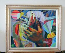 "Tadeo Zavaleta Stretched Embellished Framed Canvas ""Caress"" Hands Tender Touch"