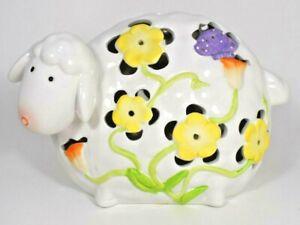 "Ceramic Decorative 10"" Sheep / Lamb (Easter/Spring Flowers)"