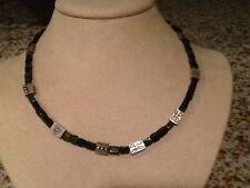 "Lisa Jenks peridot sterling silver tribal modern beads 16"" necklace jewelry"