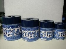 Vintage, Rare, Japan, 8-pc Blue Willow Tin Canister Set