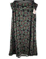 NWT LULAROE Women's Fold Over black floral maxi skirt size 3X