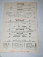 1960's TAKE OUT RESTAURANT Dinner and Sandwich MENU 1960's