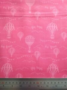 100% Cotton Woven Fabric - Pink Hot Air Balloons Dressmaking Crafts Sewing