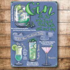 Gin Cócteles Bebidas recetas Gafas Fiesta Bar Pub pequeñas Metal Acero Signo De Pared
