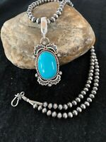 Mens Gift Navajo Pearls Sterling Silver KINGMAN Turquoise Necklace Pendant 4296