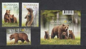 Slovenia 2019 ☀ Complete issue - Animals Brown Bear set + MSS ☀ MNH Unused**