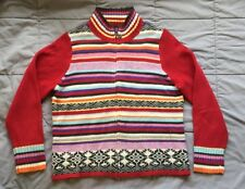 Koret CARDIGAN Zippered SWEATER Long Sleeves SZ PETITE SMALL Red & Stripes
