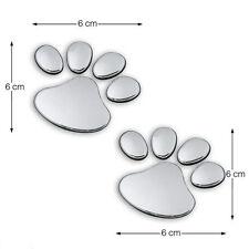2pcs 3D Cute Silver Bear Dog Paw Foot Print Car Window Bumper Body Decal Sticker