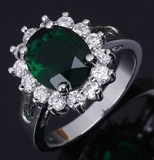 Delicate Size 6,7,8,9,10 Solitaire Engagement Emerald 18K Gold Filled Women Ring