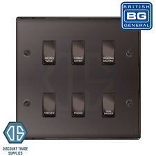 BG Black Nickel Custom Grid Switch Panel Labelled Kitchen Appliance 6 Gang