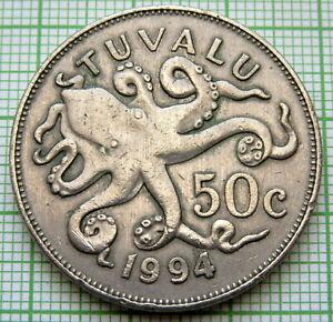 TUVALU ELIZABETH II 1994 50 CENTS, OCTOPUS, SCARCE DATE