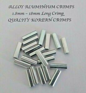 ALUMINIUM ALLOY FISHING CRIMPS. 100 x 1.8mm Long Crimp. Suit Mono Leader.