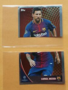 2017-18 Topps UCL Stickers #588-589 Lionel Messi Barcelona Argentina