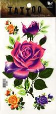 Temporary Tattoo Pink Purple Orange Rose Colourful Body Art Removable HM225