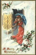 Christmas -  Woman in Red Umbrella in Snowstorm c1910 Postcard bck TUCK