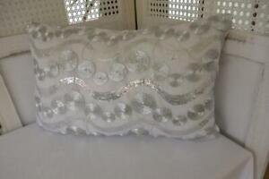 Rectangle Metallic Silver Sequins & Swirls on White  Cushion Cover 30x50cm