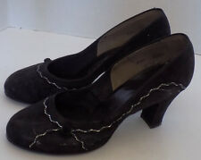 d41593ce3ad Vtg 40s Round Toe Black Suede High Heel Shoes Silver Trim 6 M AS IS Gold