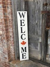 Welcome, Welcome Sign, Maple Leaf Sign, Canada Welcome Sign, Rustic Wood Sign