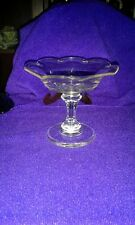 Vintage Stemmed  Glass Candy Dish Compote; Scalloped