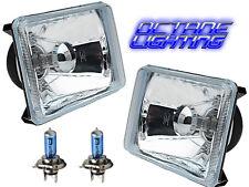 4X6 Diamond Crystal Clear Glass Lens Metal Headlight H4 Light Bulb Headlamp Pair