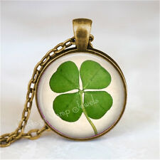 Shamrock Necklace Four Leaf Clover Irish Good Luck Jewelry Lucky Charm Ireland