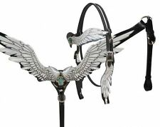 Showman White Angel Wing Leather Western Headstall Breast Collar Set