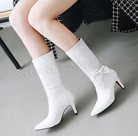 Elegant Damen Schuhe Schleife Wadenhohe Stiefel High Heels Spitz Zehe Boots Gr46