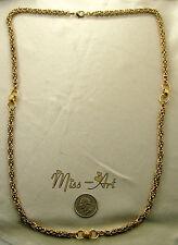 """BYZANTINE 5MM VINTAGE SOLID BRASS Blond Chain 31 1/2"""" CENTER Necklace Miss-art"""