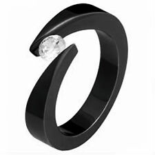 Black Plated TITANIUM BYPASS TENSION RING with Round CZ, size 9 - in Gift Box