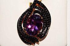 $5,000 12.40Ct Amethyst & Black Diamond Cluster Pendant 18K Rose Gold