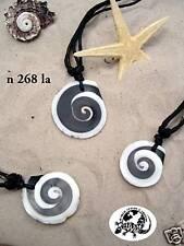 BLACK & WHITE SHELL NECKLACE PENDANT beach surf /n268la