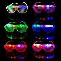 2 Flashing LED Shutter Glasses Light Up Rave Slotted Party Glow Shades Fun UK