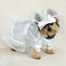 Dog WEDDING DRESS Veil Chiffon Overshirt Ruffled Neck & Collar Casual Canine