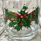 Vintage AHC Glass Tumblers Christmas Holly Red Ribbon Bows