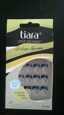 24 French Style anti bac Nails by Tiara urban grove NEW IN BOX white blk blue