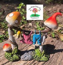 Fairy Garden Mushroom Clothesline - miniature accessories fairies decor ornament