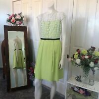 Target Green fit and flare dress with white lace bodice Size 16 Womens
