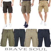 Mens Boys Brave Soul 100% Cotton Cargo Causal Combat Hiking Summer Shorts Zip