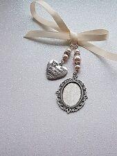 "Wedding Bouquet Photo Charm Oval Silver Bouquet Locket & ""always in heart"" charm"