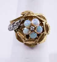 Vintage 14K Yellow White Gold Opal Flower Leaves Diamond Accents Ring Size 7.25