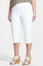 Eileen Fisher Washable Stretch Crepe  Cropped Pants White Plus 3X $168