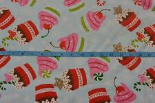 Winter Cupcakes Peppermint Candycane Light Blue Cotton Flannel Fabric BTY