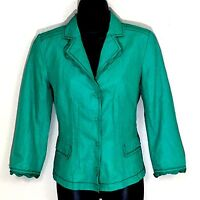 Elie Tahari Blazer 6 jacket green cotton blend career work 3/4 ruffle S