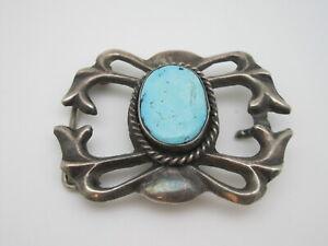 Wonderful Vintage Navajo Sandcast Silver & Turquoise Belt Buckle