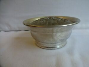 Vintage Silver Plate Posy Bowl With Glass Flower Frog Height 5 cm Diameter 11 cm