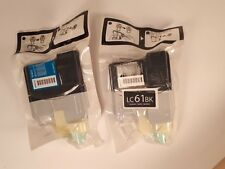 TWO Genuine BROTHER LC61BK and LC61C printer ink - SEALED
