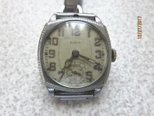ANTIQUE 1927 ELGIN DECO Cushion Watch & ETCHED CASE With Original Band